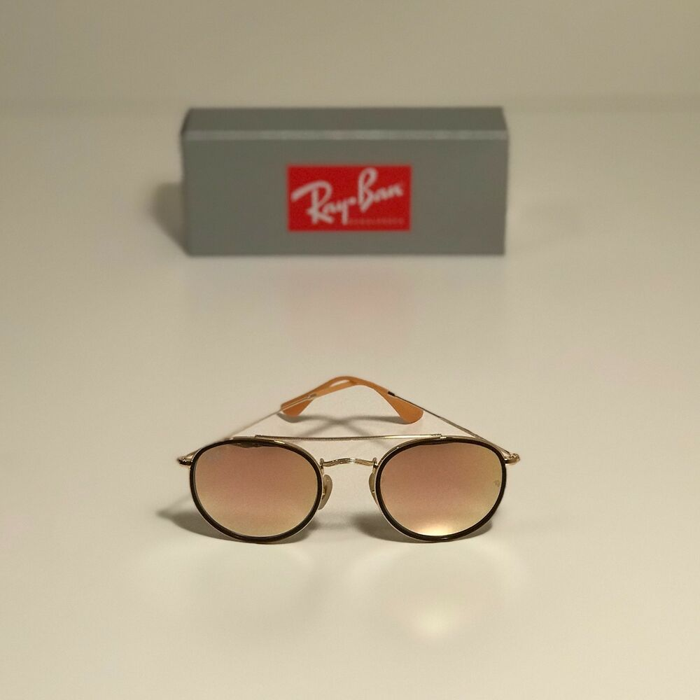 cdaaffb5895 Details about New Ray-Ban Round Double Bridge Gold RB3647N 001 7O 51-22  Copper Gradient Flash