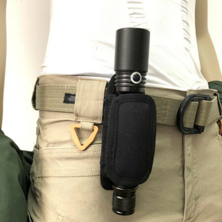 img-Tactical Military Flashlight LED Torch Belt Holder Case Pouch Bag Rotatable