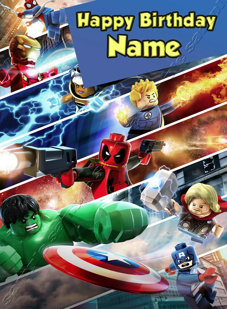 Lego Marvel Heroes Hulk Spiderman Iron Man - Personalised Birthday Card Dad  Son | eBay