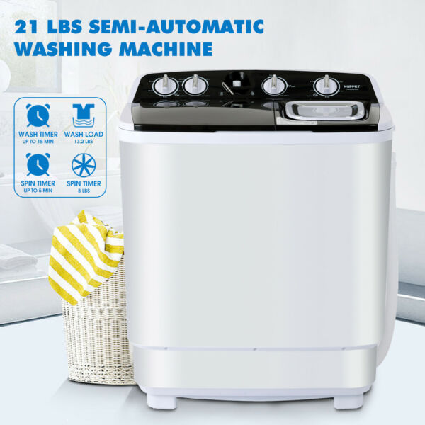 8LBS Portable Compact Full-Automatic Twin Tub Washing Machine Spin Dryer Laundry