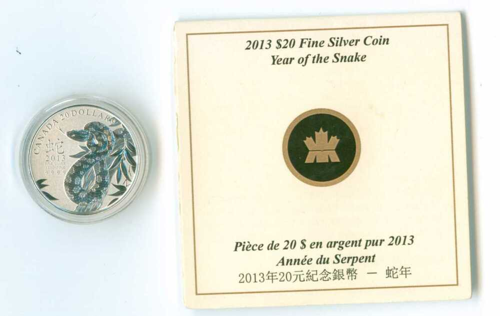 2013 $20 Dollar .9999 Fine Silver /'Year of Snake 蛇年/' Commemmorative coin