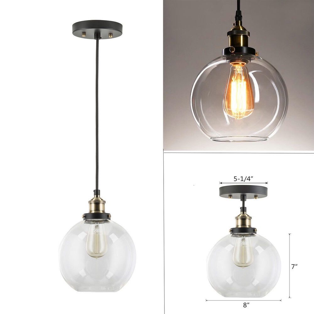 Details about glass ball shade hanging ceiling pendant lamp light lampshade lighting fixtures