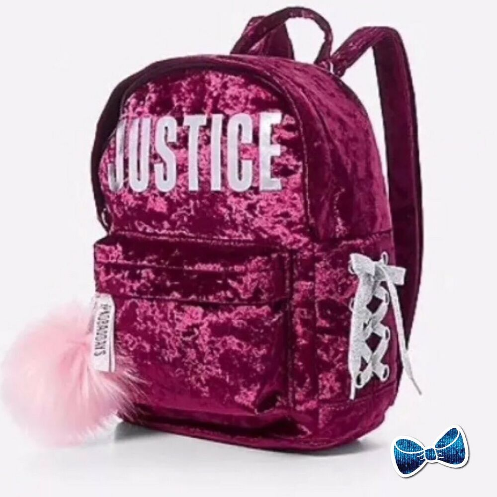 23937308d0ec Details about JUSTICE Girls Ruby Red Velvet Logo Lace Up