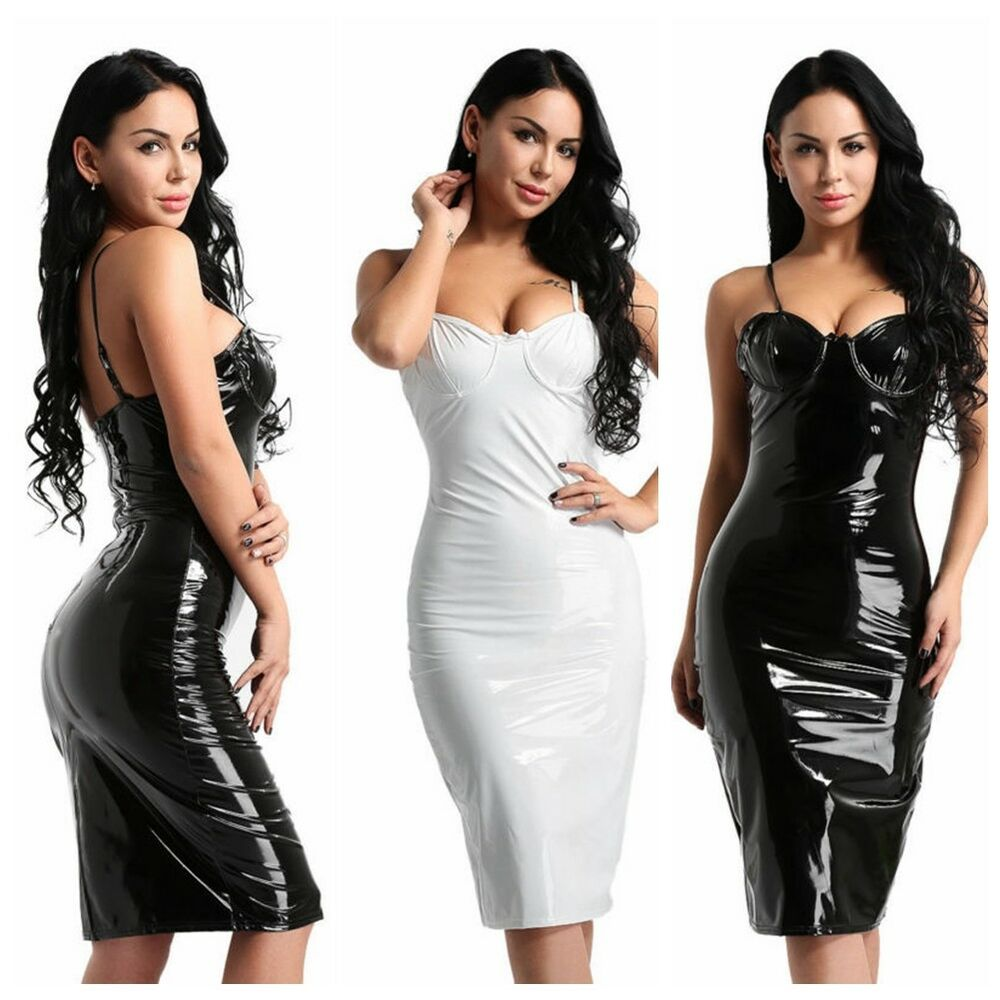 d37170e3c0f4 Details about Sexy Women s Sleeveless Wet Look Bodycon Cocktail Party Mini  Dress Evening Club