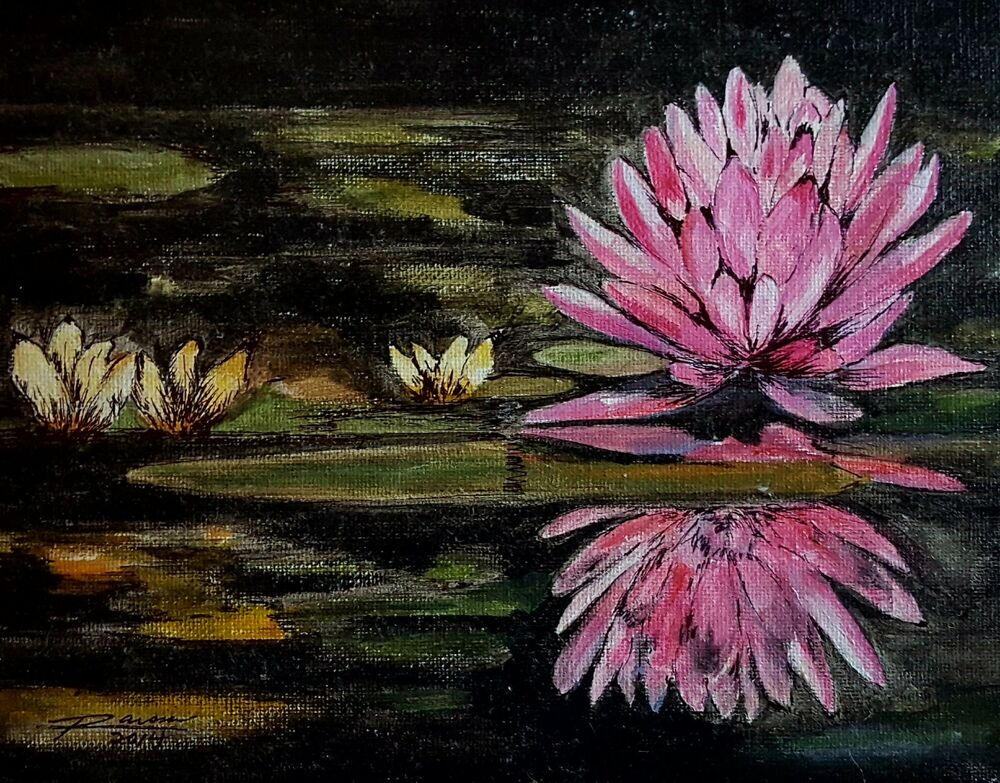 Pink Lotus Original Acrylic Painting With Pen And Archival Ink Ebay