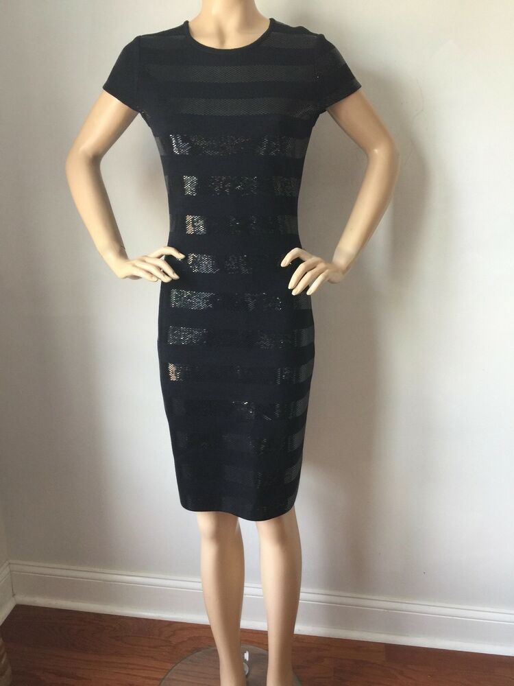 Nwt St John Knit Black Evening Dress Size 12 Santana Knit With