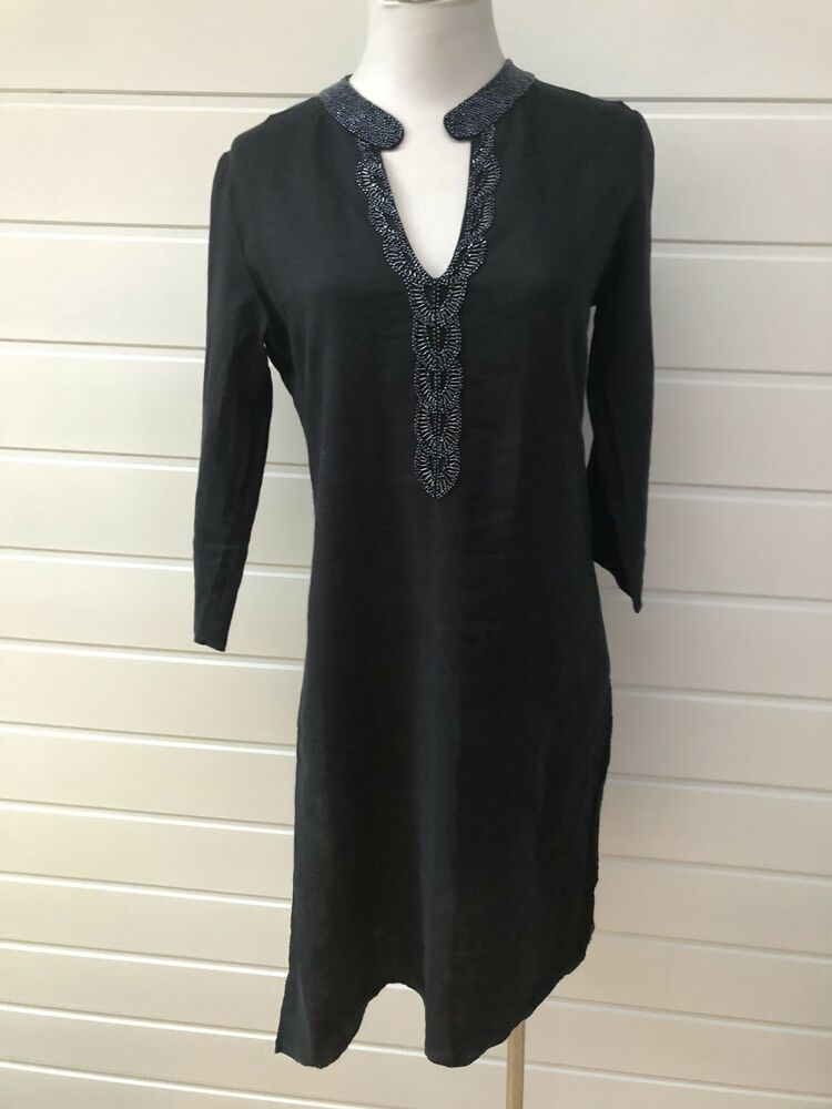 f7bbb16b93f Details about SUSSAN Black Linen Long Sleeve Beaded Tunic Dress - Size 8