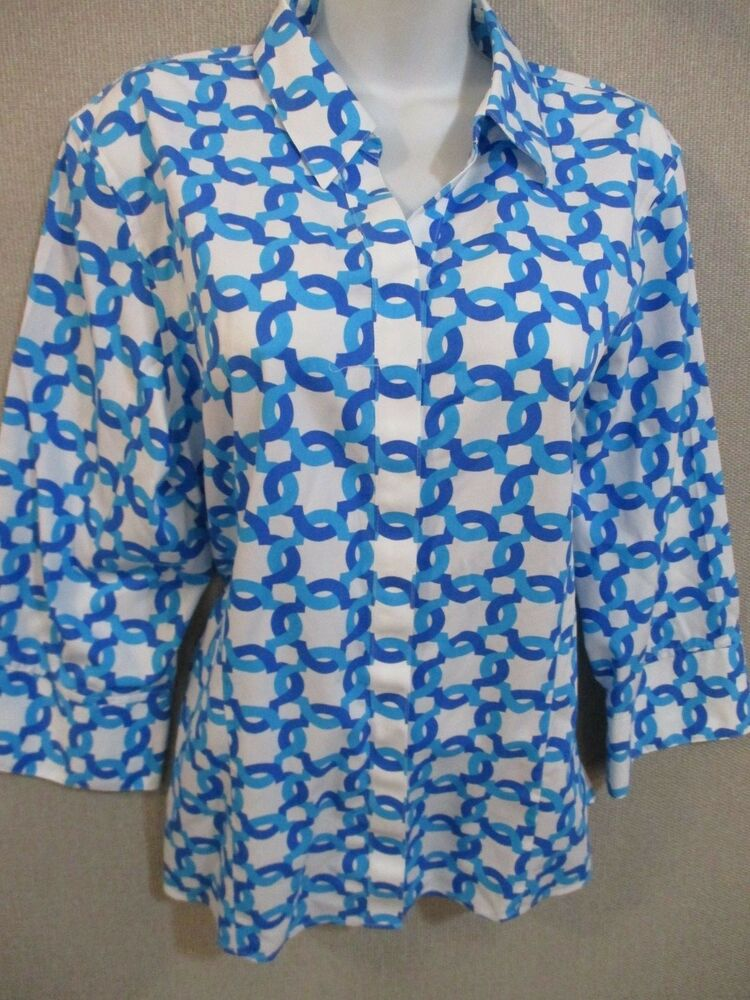2f1a691f17576e Details about Chico s Shirt Size XL No-Iron 100% Cotton Geometric Print  Career Shirt