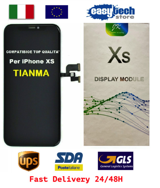 DISPLAY LCD Schermo Vetro Per iPhone XS TIANMA 3DTouch Screen NERO