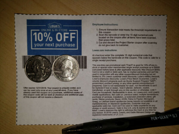 (5) Lowes 10%-Off Coupons-In Store Or Online-(FAST SEND AVAIL) Best Expiration
