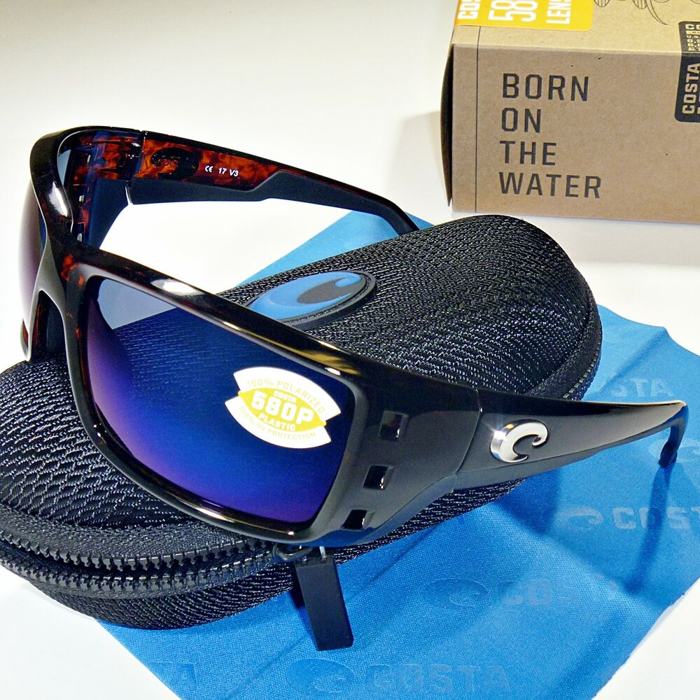 64e92ed125 Details about Costa Del Mar Permit Polarized Sunglasses - Tortoise Frame  Blue Mirror 580P Lens