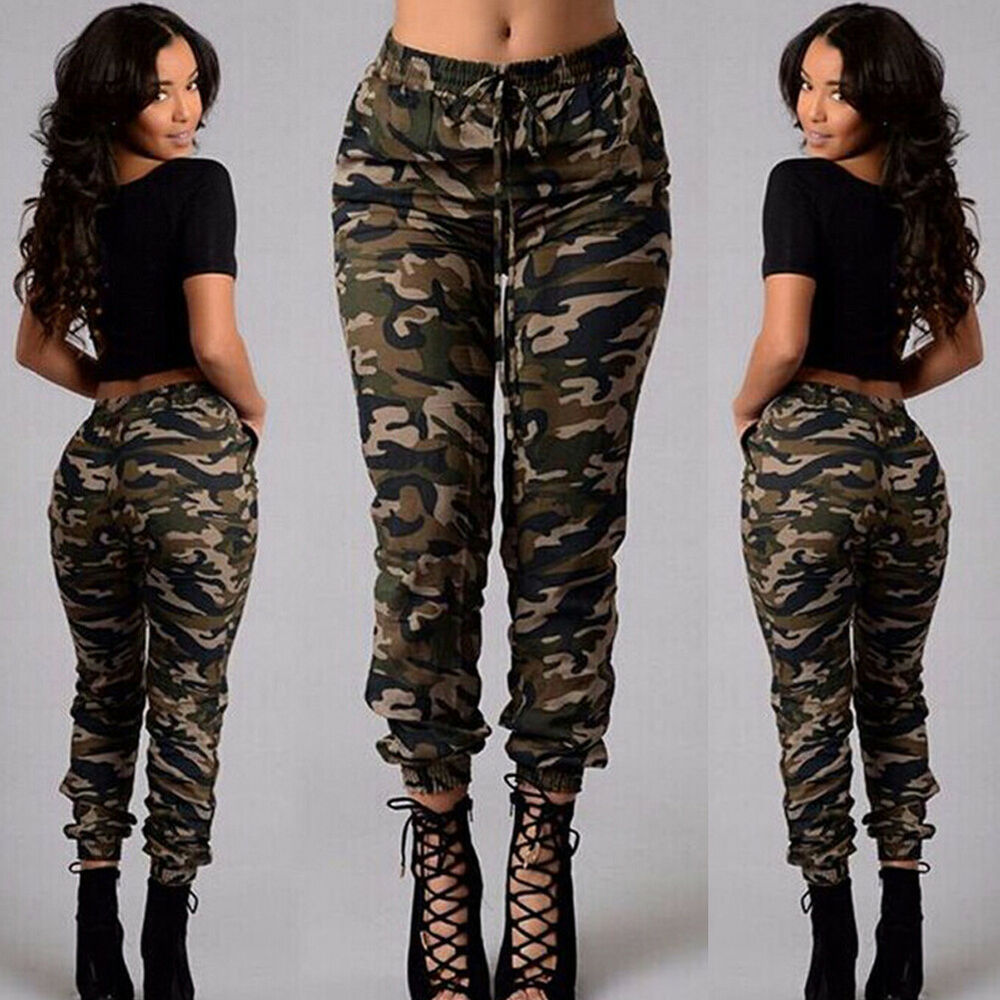 6535eaae7a80c Details about Women High Waisted Camo Skinny Slim Jeans Military Stretch  Pencil Pants Trousers