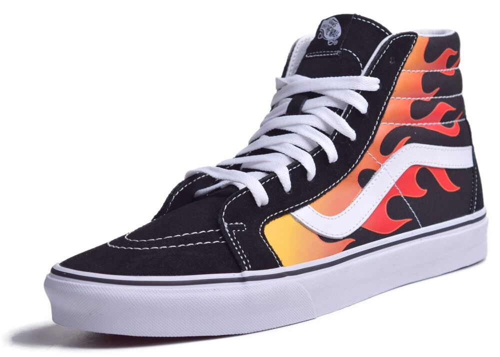 a7f349234f97 Details about Vans Sk8 Hi Reissue Men s Flame Black Skateboard Shoes Choose  Size