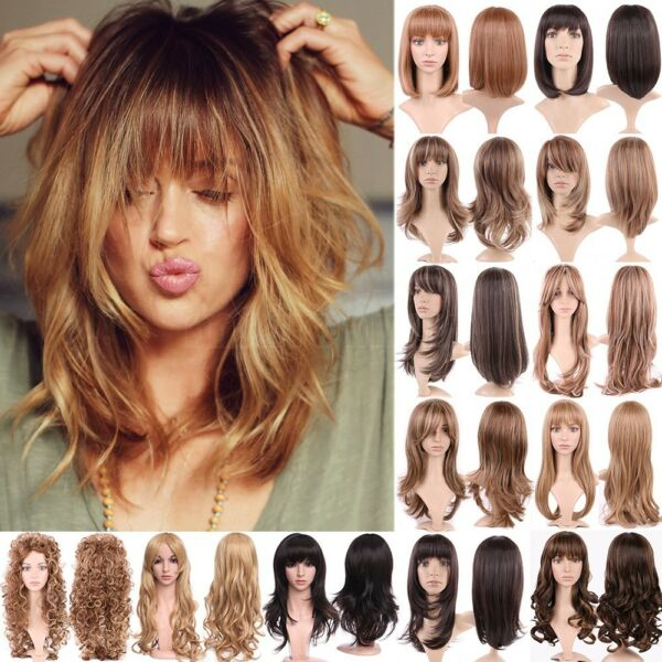 Ombre Brown Blonde Hair Wig Women Straight Wavy Synthetic Daily Party Hair Wig G