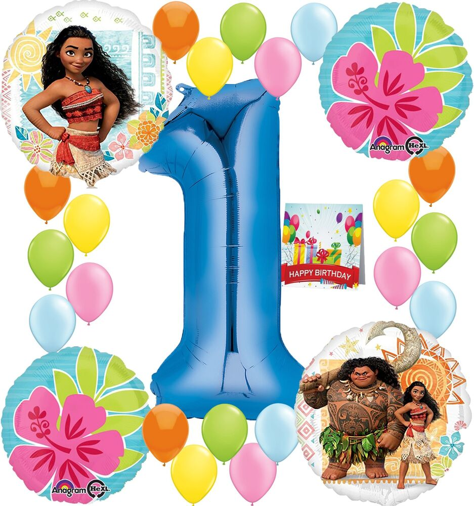 Details About Moana Party Supplies Birthday Decorations Number Balloon Bundle For 1st Birt