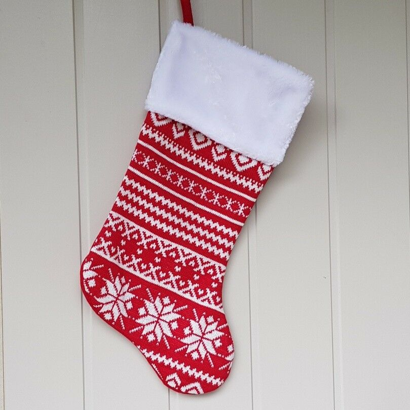 bbccfd32 Details about Nordic red and white snowflake knitted Christmas stocking by  Gisela Graham