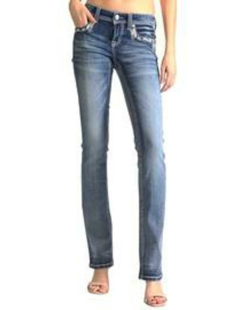 EB-61266 Grace In LA Women/'s Embellished Pocket Easy Boot Cut Jeans