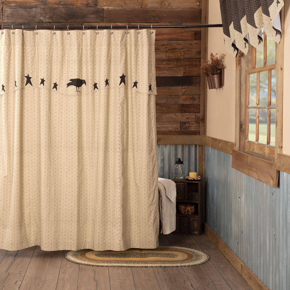 Details About Kettle Grove Crow Stars Country Farmhouse Primitive Shower Curtain W Valance