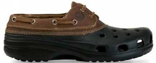 5659a9514 Crocs Islander black leather lace-up boat shoe W 6 NEW