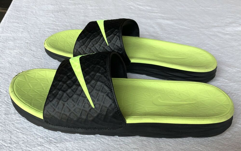 2ae0c116c2ba ... reduced details about mens 10 nike benassi solarsoft slide sandals euc  neon yellow black 705474 070