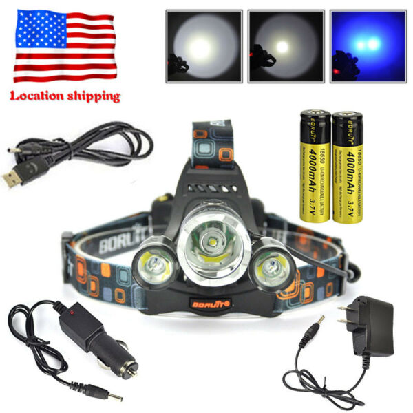 20000LM 3x LED Headlamp Rechargeable Headlight Flashlight 2x18650 Fishing Torch
