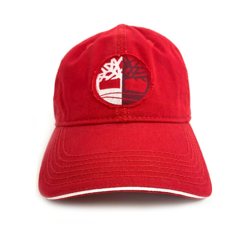 cd8f0e44f28 Details about Timberland Men s Tree Logo Cotton Red Baseball Hat A1E9B