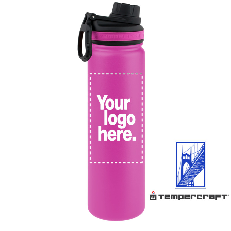 Details About Tempercraft 22 Oz Vacuum Insulated Sport Bottle Custom Laser Engraved Pink