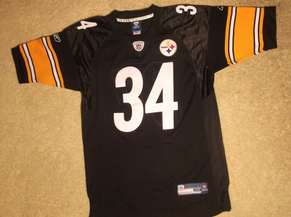 c0926f217 Details about PITTSBURGH STEELERS JERSEY 48 BLACK  34 RASHARD MENDENHALL  REEBOK ONFIELD STITCH