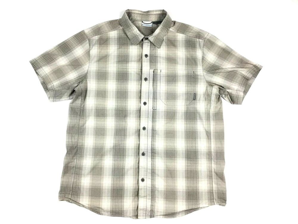 4d82bfdf7b7 Details about (6638) Columbia Mens XL Button Down Shirt Short Sleeve Plaid  Gray