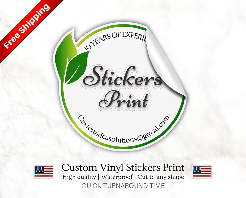 100 custom sticker bulk print vinyl decals labels logo stickers waterproof label ebay