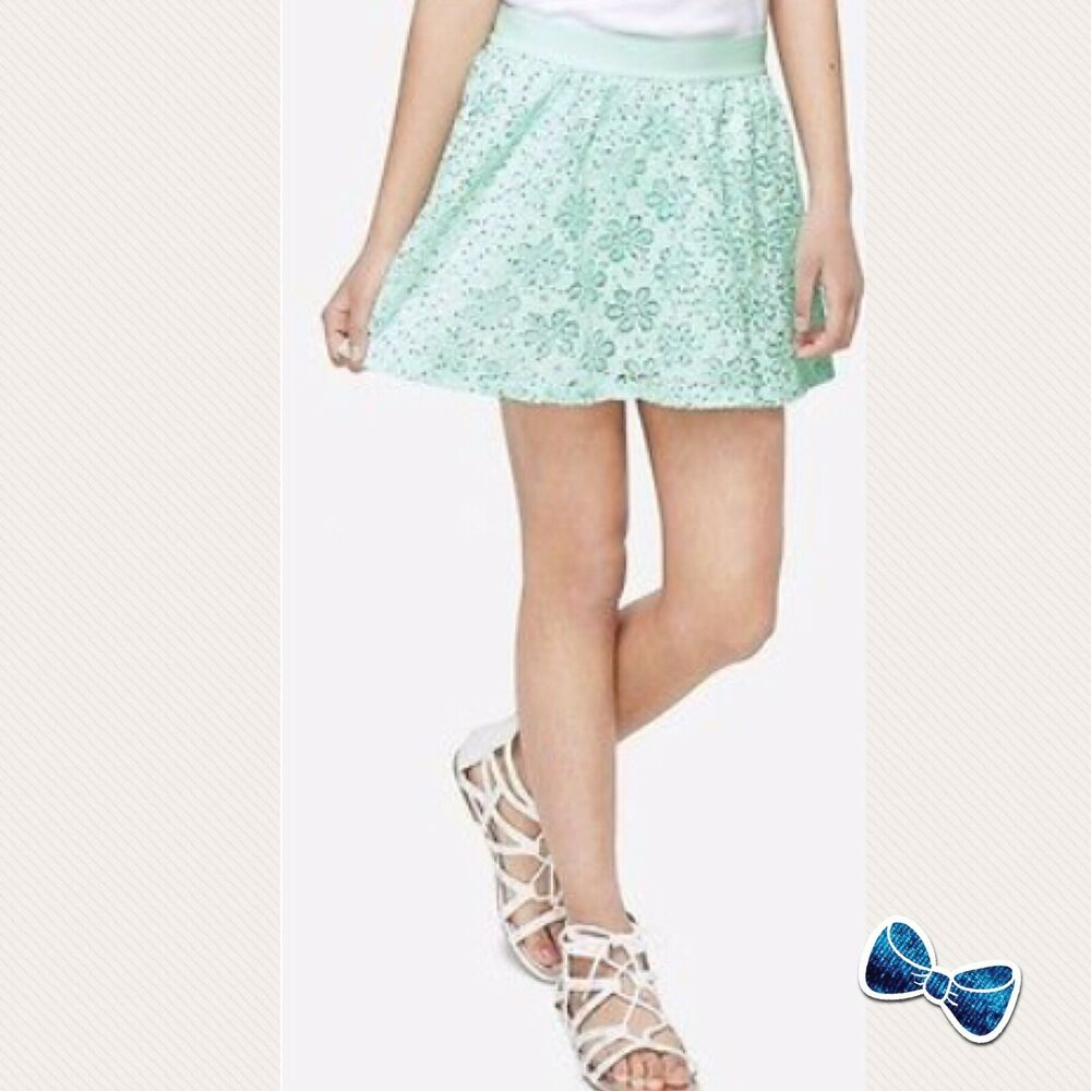 4de0d697e Details about Justice Girl s Size 10 Hint of Mint Sequined Lace Skirt New  With Tags