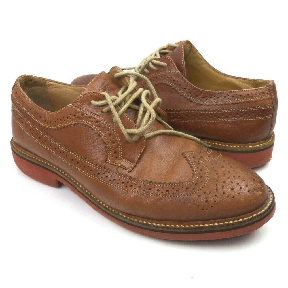 14af4be15e4 Details about Nordstrom 1901 Men s Leather Shoes Brown Kyle Longwing  Wingtip Size 8.5M