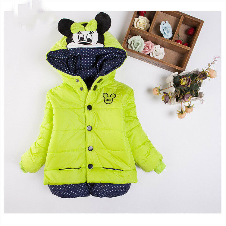a62f56496 Details about Kids Girls Cartoon Style Autumn Winter Coats Cute Buttons Outerwear  Clearance