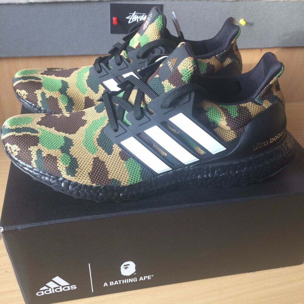 1c7ce2c3a46 Details about BAPE x Adidas Ultra Boost Green Camo - UK10 - Sold Out