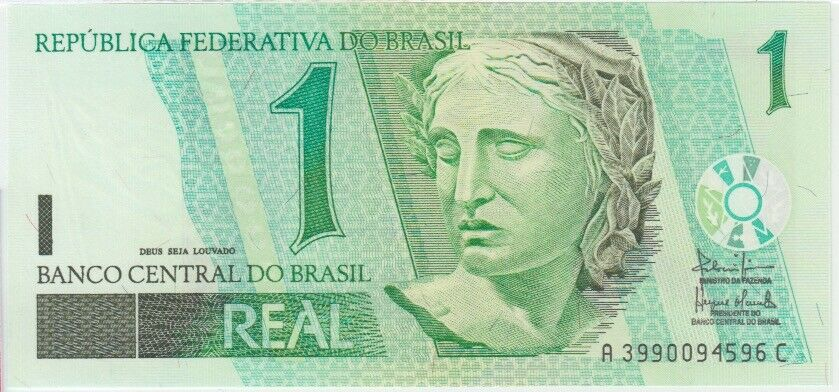 UNC Brazil Banknote P251a 1 Real 2003 Series AC