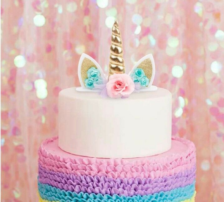 Details About 2 X Unicorn Horn Cake Topper Birthday Party Decor
