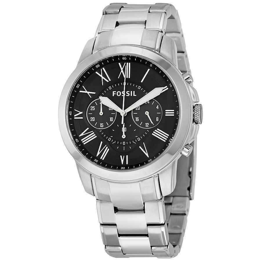 ce30e74d1331 Details about Fossil Grant Chronograph Black Dial Stainless Steel Men s  Watch FS4736IE