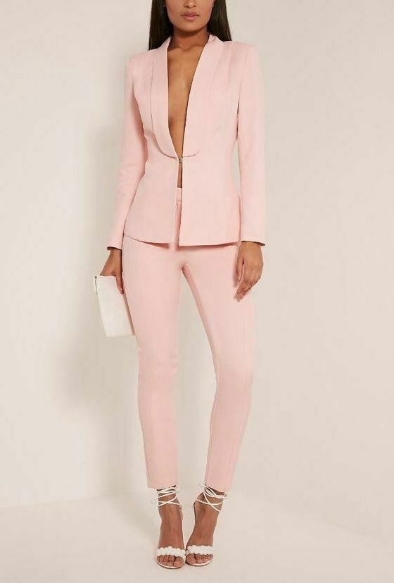 de8757959758d Details about Pink Women Ladies Formal Business Office Tuxedos Work Wear  New Suits Custom Made