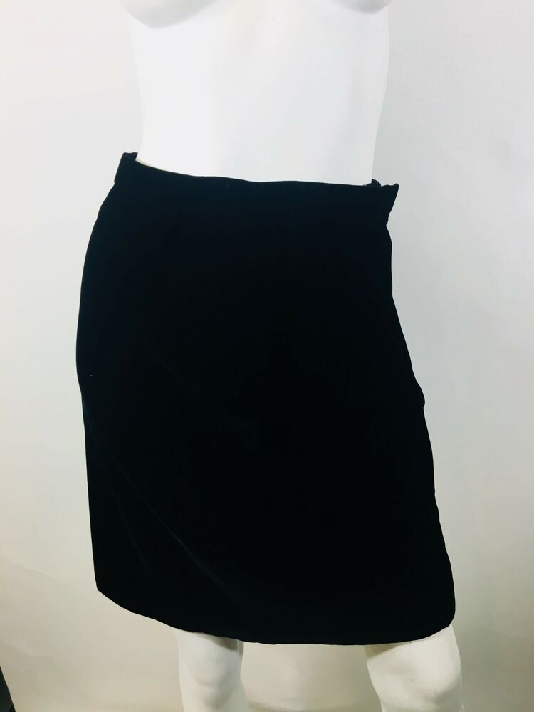 826cd094ffc Details about Carolina Herrera Size 6 Black Velvet Pencil Skirt EXP