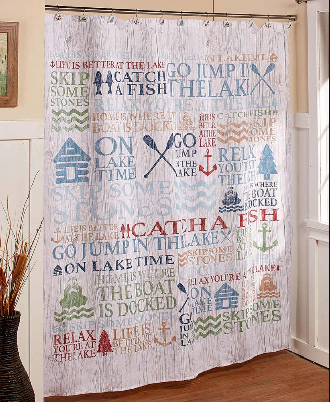 Details About Lake House Fabric Shower Curtain Life Inspired Phrases Nautical Bathroom Decor