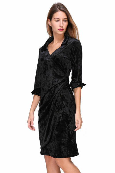Revdelle - Robe Cache Coeur Col V Made In France Manches Longues Pour Femme Dai
