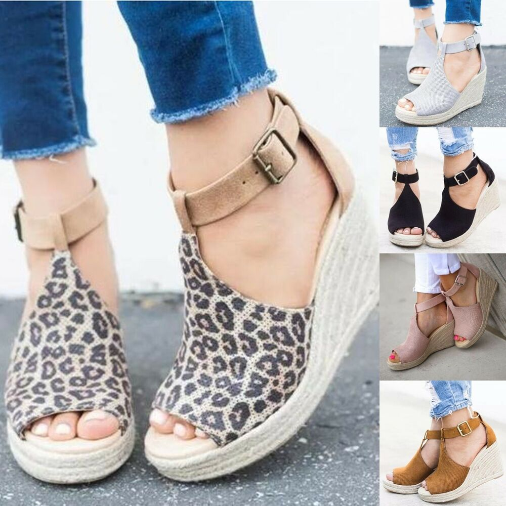 Details about Women Wedge Heels Summer Sandals Ladies Peep Toe Boots Casual  Buckle Pumps Shoes 05f77f43f51