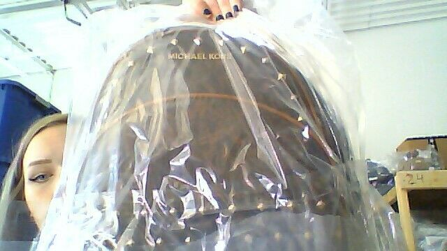 4a378a23de84 Details about Michael Kors Abbey Medium MK Signature Leather Studded Backpack  NWT