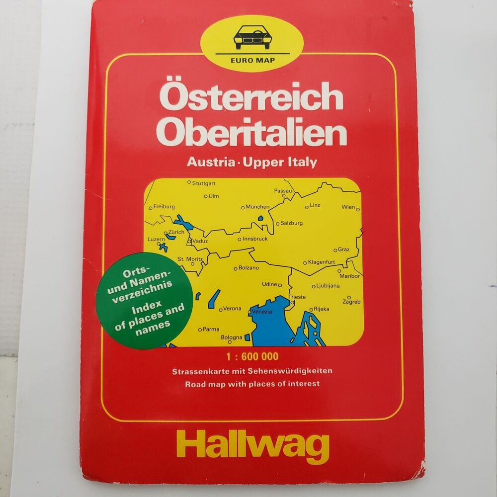 Map Austria Upper Italy 1986 With Index Hallwag Large Road wall Map ...