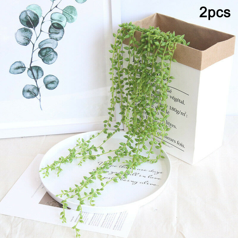 2pcs Lifelike Artifical Succulents String Wall Hanging Decor Green