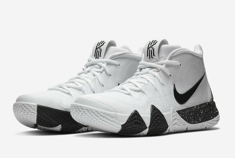 685ab02f35a9 Details about Nike Kyrie 4 TB Mens AV2296-100 White Black Team Bank Basketball  Shoes Size 10