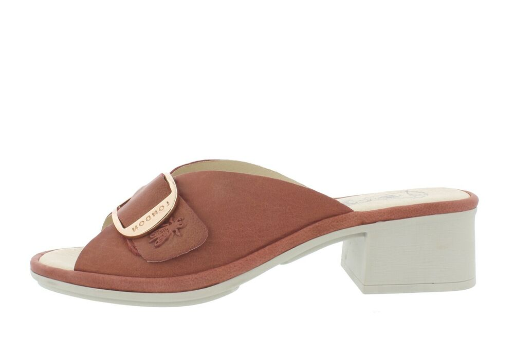 086db7e55be Details about Fly London NEW Elax raspberry genuine leather slip on block  heel sandals sz 3-9