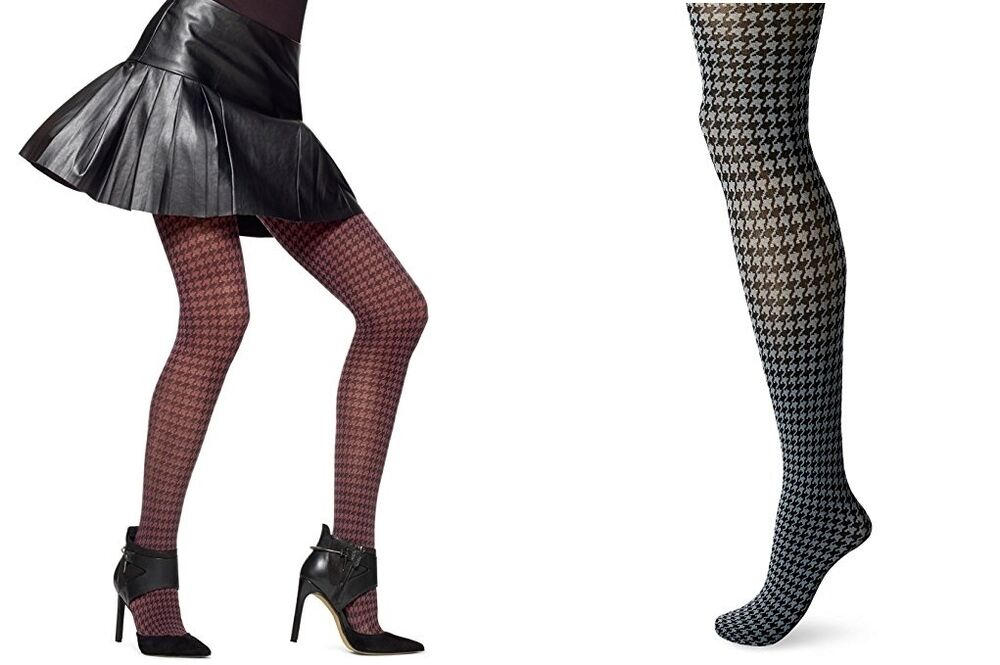 931b8011b8adb Details about Hue Women's Tights Houndstooth Tights Control Top S/M, M/L