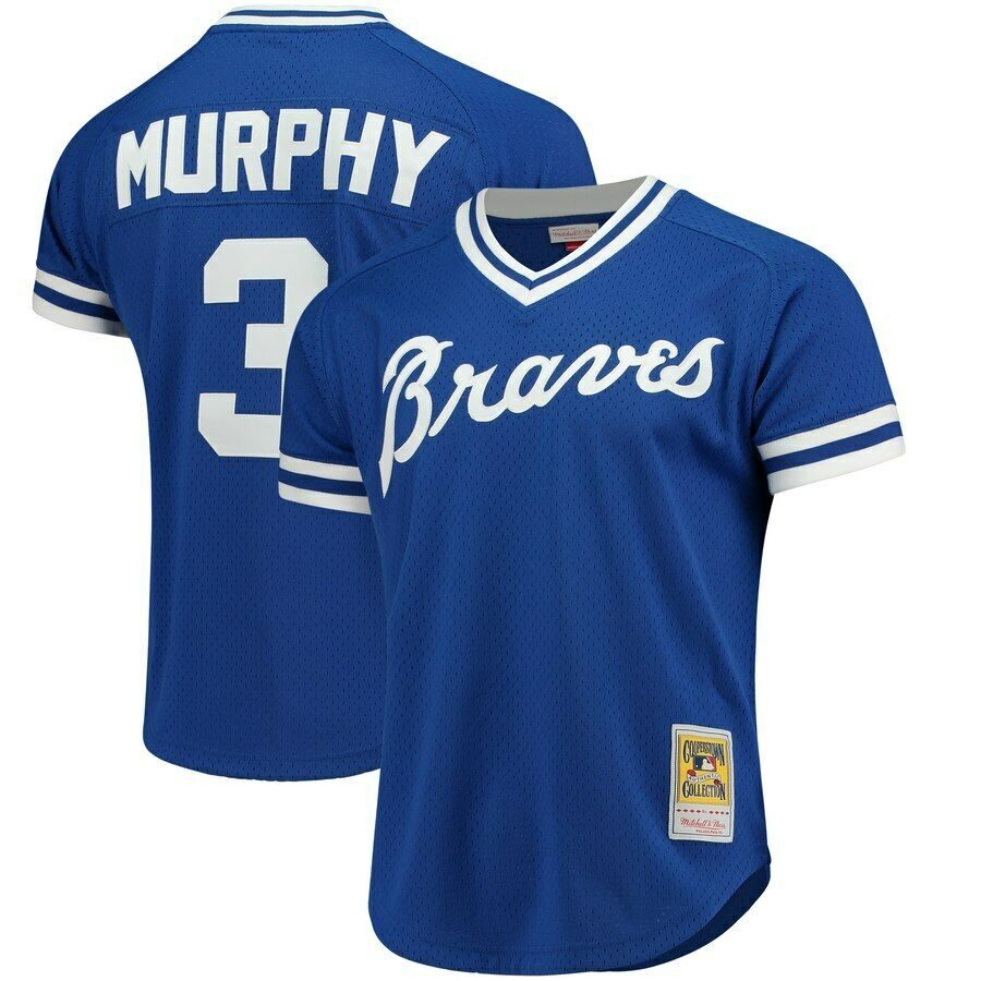 7ed30abf123 Mitchell   Ness Authentic Mesh BP Royal Jersey Atlanta Braves 1981 Dale  Murphy