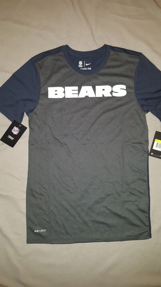 c5742e248f6b75 Details about NIKE CHICAGO BEARS NFL DRI-FIT GREY BLUE T-SHIRT MENS SMALL  NEW 875290 060